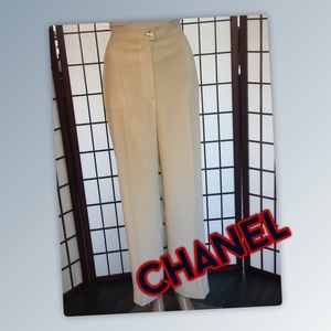 CHANEL Silk Lined Polyester Dress Pants.